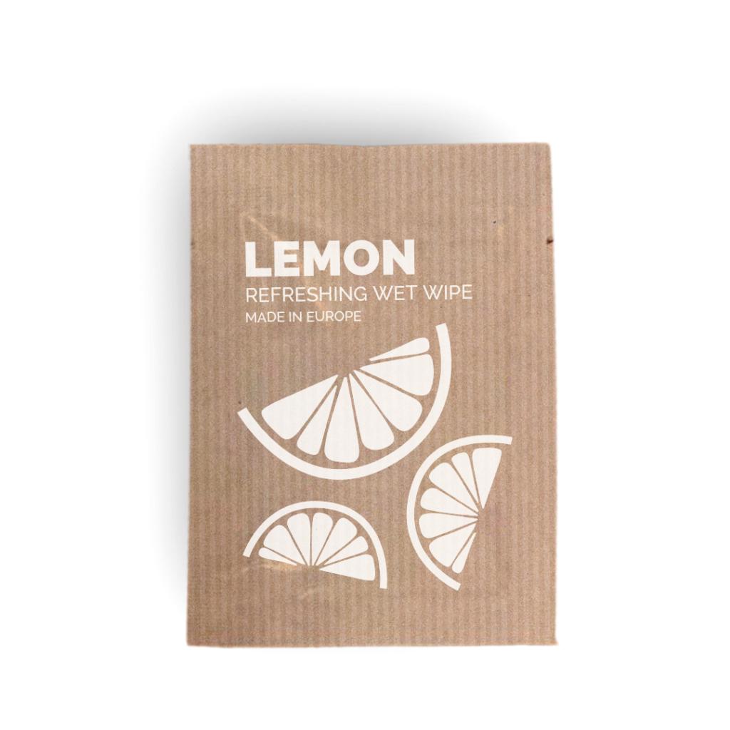 Toallita higiénica limón sobre kraft