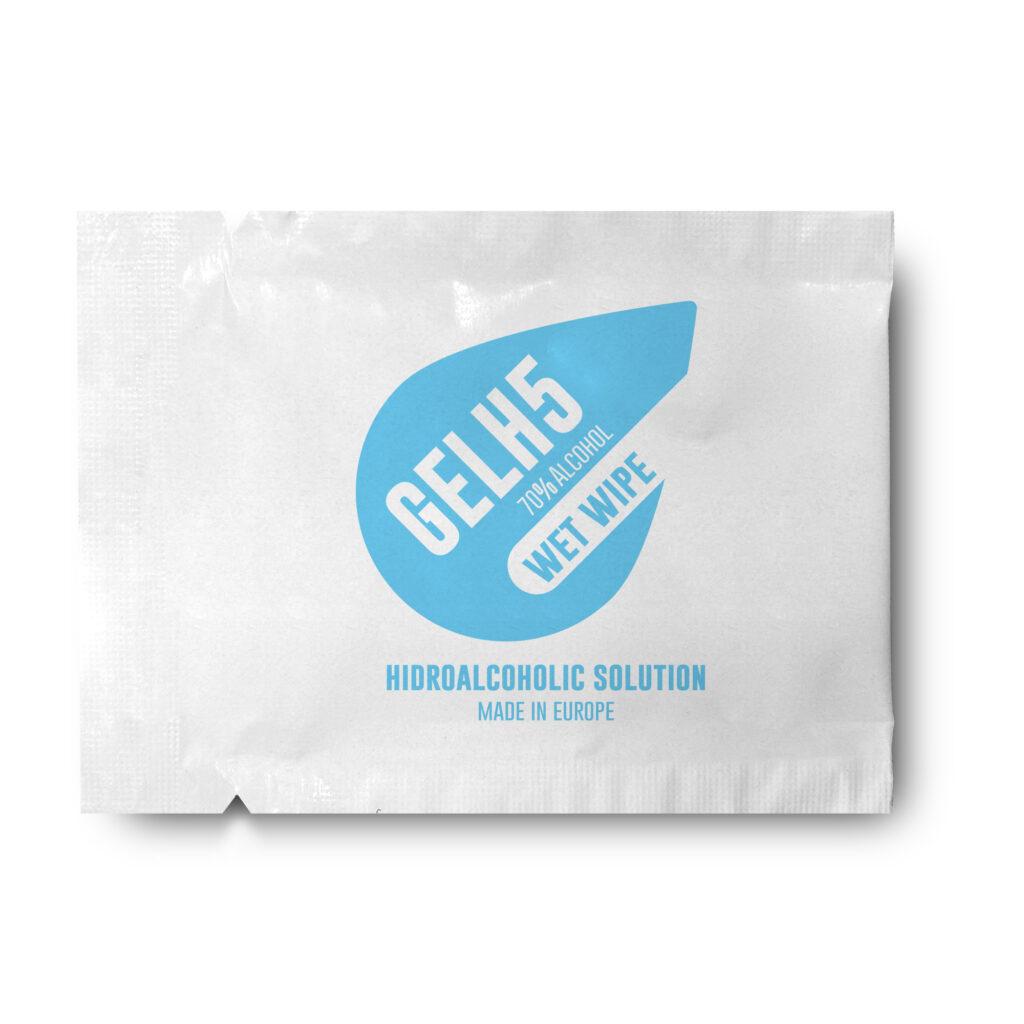 Toallita gel hidroalcohólico sobre blanco